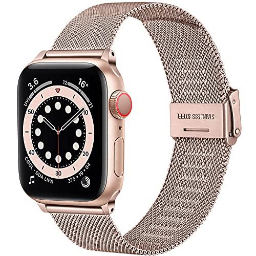 Upeak Compatible con Correa Apple Watch 38mm 40mm 42mm 44mm, Pulsera de Repuesto de Acero Inoxidable con Hebilla Ajustable Compatible con iwatch Series SE 6 5 4 3 2 1, 42mm/44mm-Oro Rosa