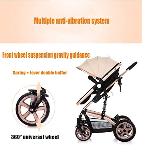 LAMTON High-View Stroller, Multi-Position Adjustable Shock-Absorbing Folding Four Season Jogging Stroller for Infants from 0 to 36 Months. Send 7 Gifts LAMTON Lycra skin-friendly fabric. Thick and non-pleated, soft and silky, warm and breathable, the best choice for baby soft skin. The frame connection is supported by a spring bracket, which effectively alleviates the shaking of the body, makes the cart more stable, and the baby sleeps more securely. Big fill cradle. High view. Reversible stroller seat. damping. Bump bumper. Large storage basket. Front wheel rotation with suspension spring. Fully adjustable 5-point seat belt Made of high-quality carbon steel pipe: streamlined curve, no rust, anti-oxidation, impact resistance, high strength, can adjust the most comfortable push position; reversible baby stroller seat allows the baby to easily face the parents or face the world. 5