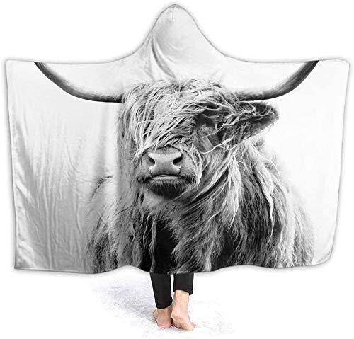 HUA JIE Kuschelige Decke Kuh Kapuze Decke Vintage Tier Highland Kuh Vieh tibetische Hochebene Yak Big Horn Coole Wildtiere Weiche warme gemütliche Decke für Bett Sofa für Männer Frauen