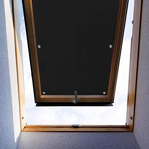 KINLO Thermo Sonnenschutz Dachfensterrollo für Dachfenster CK04 ohne Bohren Verdunklungsrollo Rollo UV Schutz mit Saugnäpfe, Schwarz 38 x 75 cm