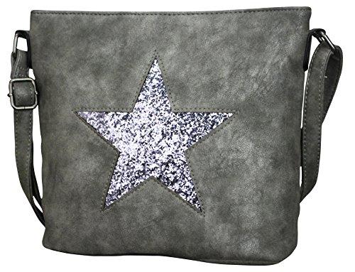 PiriModa Damen Luxus Leder Stern Handtasche Schultasche Clutch TOP TREND Tragetasche (Grau/Silber)