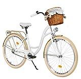 Milord Bikes Bicicletta Comfort Bianco - cremoso a 1 velocità da 28 Pollici con cestello e Marsupio Posteriore, Bici Olandese, Bici da Donna, City Bike, retrò, Vintage