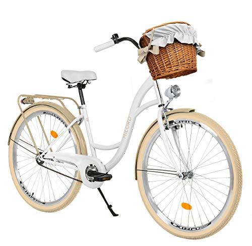 Milord Bikes Bicicleta de Confort Crema Blanca de 1 Velocidad y 28 Pulgadas con Cesta y Soporte Trasero, Bicicleta Holandesa, Bicicleta para Mujer, Bicicleta Urbana, Retro, Vintage