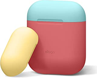elago AirPods Case Cover Compatible with AirPods 1&2-2 Caps & 1 Body, Front LED Not Visible, Premium Silicone, No Hinge (B...