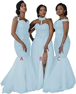 Women's 3 Styles Applique Bridesmaid Dress Split Side Maid of Honor Dresses