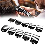 """10 Pcs Professional Hair Clipper Combs Guides, Wahl Replacement Guards Set #3171-500 – 1/2"""" to 1"""" Fits Most Size Wahl Clippers/Trimmers, Black"""