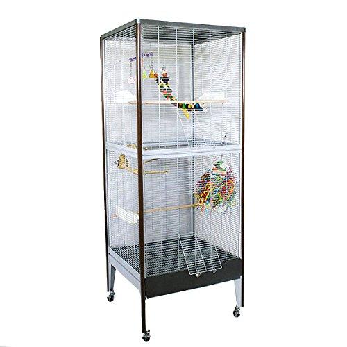Montana Cages ® | Voliere, Käfig, Vogelvoliere Happy Home Antik-Platinum in Holzoptik