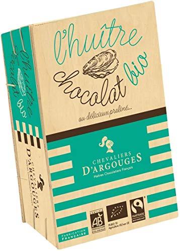 CHEVALIERS D'ARGOUGES Maîtres Chocolatiers Français Huîtres Chocolat Lait 37% Praliné Bio/Équitable Bourriche Dégustation 140 g