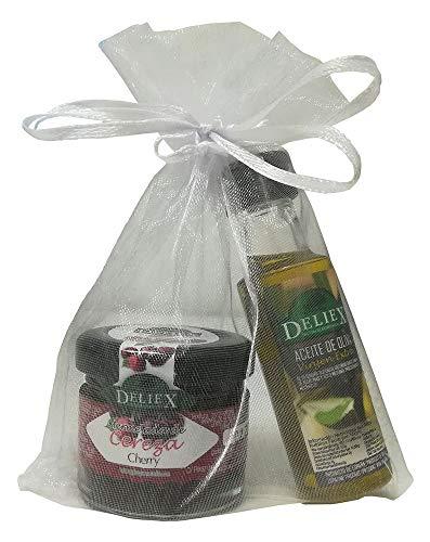 Regalo de botella de Aceite de Oliva miniatura Deliex con tarrito de mermelada de cerezas sin gluten para eventos (Pack 24 ud)