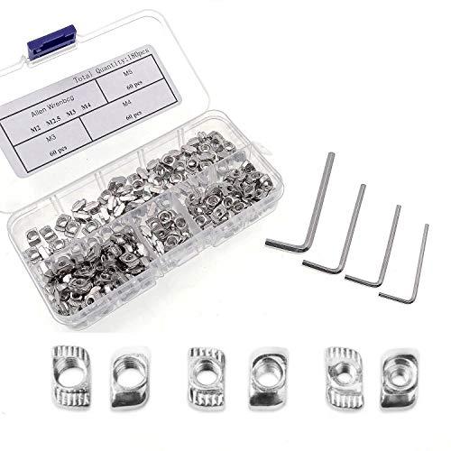 JZK Set 180 x dadi a T M3 M4 M5 kit dado con testa a martello per profili di alluminio 2020 per upgrade della stampante 3D, T nut con 4 chiavi esagonale