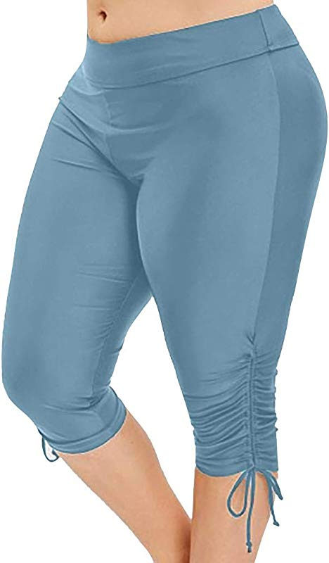 RoDeke Women S Casual High Waisted Stretch Ripped Folded Hem Yoga Jogging Sport Pants Shorts