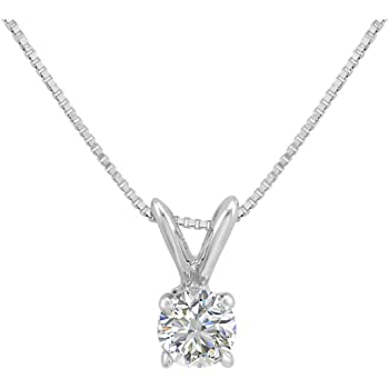AGS Certified 1/3ct Diamond Solitaire Pendant in 14K White Gold (E-F Color, 18 inch 14K White Gold Box Chain)