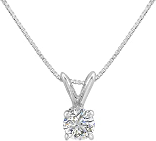 AGS Certified 1/3ct Diamond Solitaire Pendant Necklace in 14K White Gold on an 18 in. 14K White Gold Box Chain