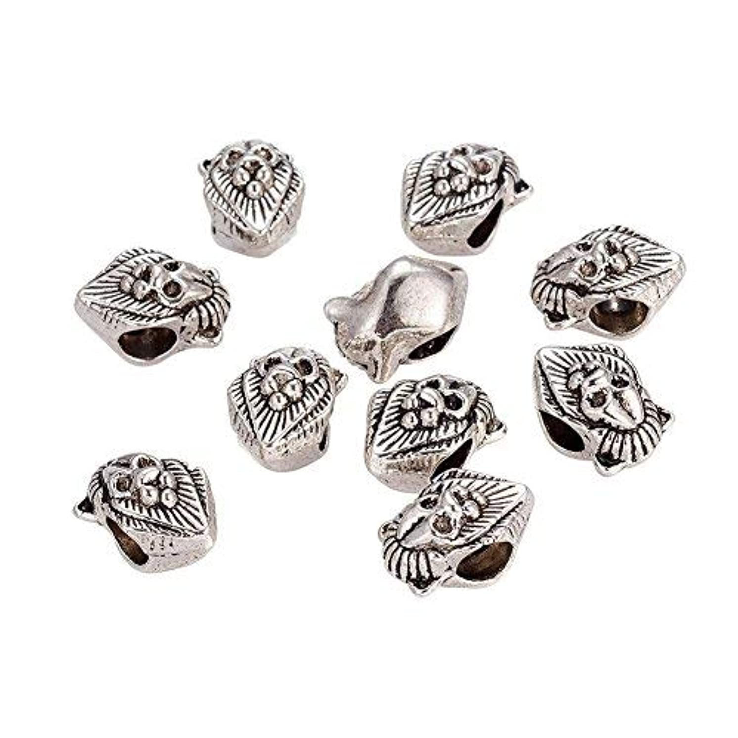 NBEADS 100 Pcs Antique Silver Lion Head Tibetan Style Alloy European Beads Large Hole Charms fit Bracelet Jewelry Making
