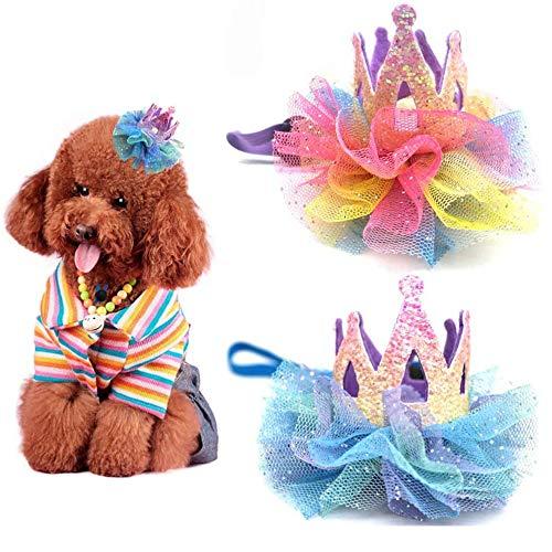2 Piezas Diadema para Mascotas, Horquilla de Perro, Sombrero de Cumpleaños de Perro, Ajustable Adorable Corona de Encaje Accesorios para El Pelo de Perro para Festival, Navidad, Cosplay (Morado, Azul)