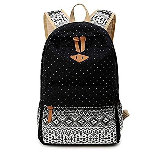 High Capacity Compartment Canvas Backpack Vintage Geometry School Laptop...