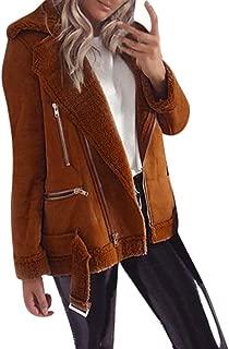 WOCACHI Fleece Jacket for Womens, Fashion Casual Zipper Wide Lapel Collar Belt Cuffed Fuzzy Coat Warm Outwear