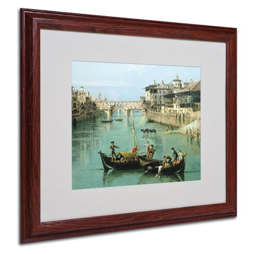 Arno River and Ponte Vecchio by Canaletto with Wood Frame Artwork, 16 by 20-Inch