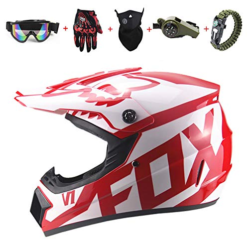 BHGJ Casco da Motocross Fuoristrada per Uomo con FOX design Moto da Cross Casco Completo Casco da Corsa Road Set con Occhiali Maschera Unisex e Guanti per Adulti (A, 57-58CM)