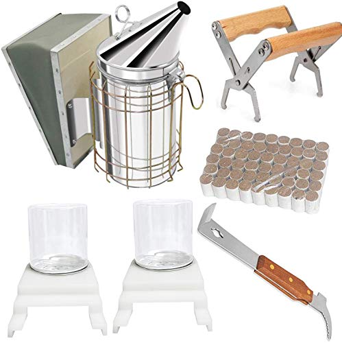 Beekeeping Supplies Tool Kit, Bee Hive Smoker Suit for Beekeeper Necessary 8 Pcs