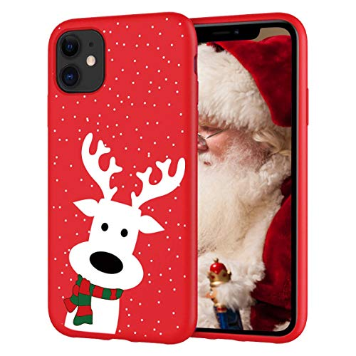 Yoedge Funda para Apple iPhone 11, Cárcasa Silicona Rojo con un Suave Navidad Diseño de Dibujos Animados...