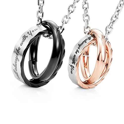 "Amazing His & Hers Couples""I Will Always Be with You"" Rings Pendant Necklace 19"" & 21"" Chain"