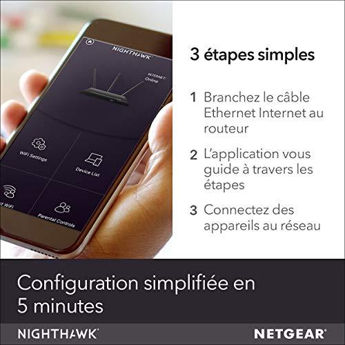 NETGEAR Routeur WiFi Nighthawk (R7000), AC1900, 4 Ports Ethernet Gigabit, 1 Port USB 2.0 et 1 Port USB 3.0, jusqu'à 1.9 Gbit/s, jusqu'à 150 m² et 30 appareils, Armor contre les Cybermenaces