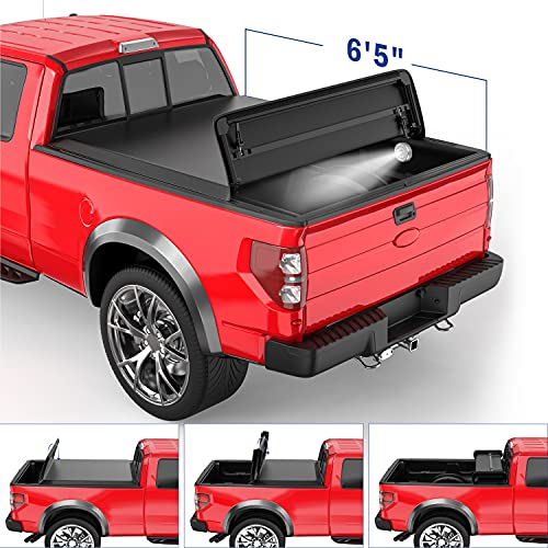 MOSTPLUS Quad 4-Fold 6.5 FT Soft Fold Truck Bed Tonneau Cover Compatible for...