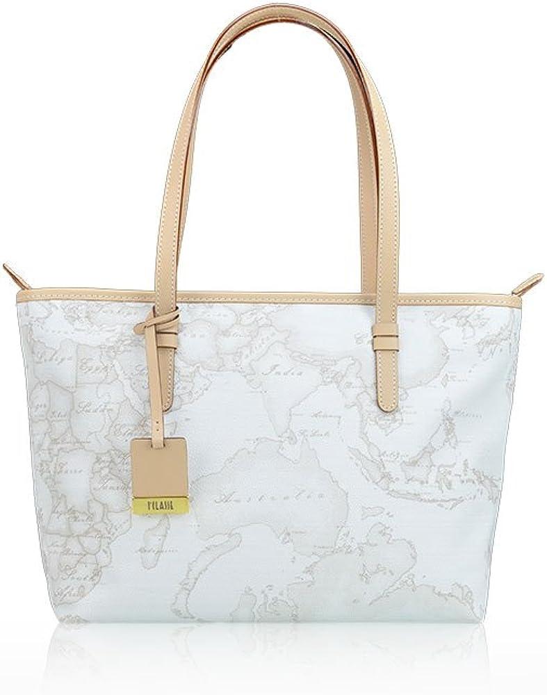alviero martini borsa per donna geo white shopping media in tessuto stampato con finiture in pelle d006_6188