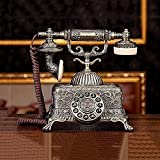 qwertyuio Teléfono Antiguo Teléfono Fijo Antiguo Metal Alto 24 Cm Longitud De La...