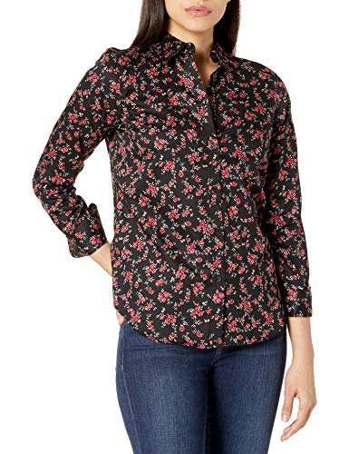 Chaps Women's Long Sleeve Non Iron Cotton Sateen-Shirt, Black/Red, S