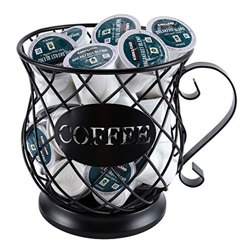TQVAI Novelty Coffee Pod Organizer Holder Espresso Storage Basket K-Cup Keeper, Frosted Black
