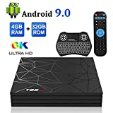 Android TV Box,T95 MAX Android 9.0 TV Box 4GB RAM/32GB ROM Quad-Core Soporte 2.4Ghz WiFi 6K Smart TV Box con Mini Teclado Inalámbrico
