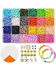 Kralen voor kettingen, polymere klei kralen voor sieraden maken armbanden cadeau voor kinderen heldere kleuren (5400st)