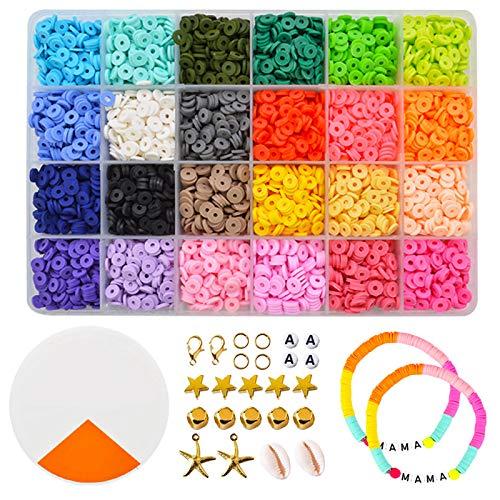 GreeSuit Abalorios para Collares Arcilla polimérica Abalorios para joyería Hacer Pulseras Regalo para niños 24 Colores Brillantes