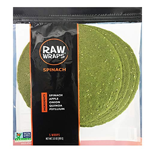 Raw Wraps, Gluten Free, Paleo, Vegan, Keto Friendly Food, Shelf Stable, 5 Wraps per Pack , Vegan, Low Carb Tortilla Wraps, Spinach Flavor