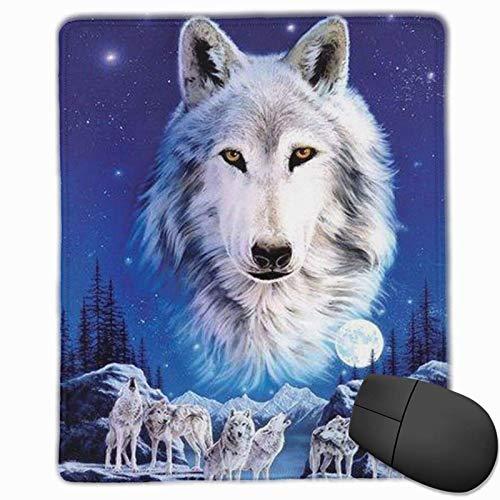 Alfombrilla de ratón Lobo en la Noche Alfombrilla de ratón Antideslizante Alfombrilla de cursor Impermeable Bonitos y exquisitos Accesorios de Escritorio (25x30cm)