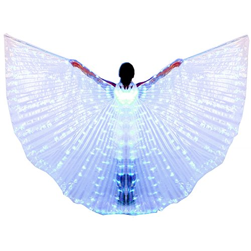 Dance Fairy Belly Dance LED Angel Isis Wings with Telescopic Sticks(Blue)