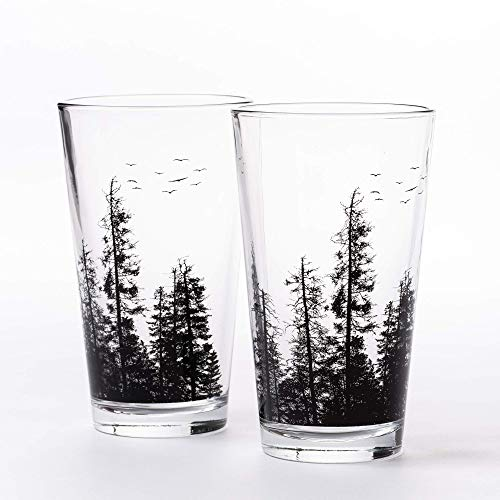 Pint Glasses by Black Lantern – Handmade Craft Beer Glasses and Bar Glassware – Pine Tree Forest Design (Set of Two 16oz. Glasses)