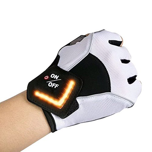 AMZSTAR Cycling Glove LED Turn Signal,Automatic Turning Induction, Mountain Bike Gloves SBR Pad Shockproof Glove,Non-Slip, Wear-Resistant, Comfortable and Breathable (White, M)