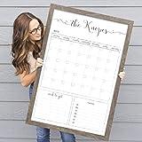 Customized Dry Erase Whiteboard Framed Calendar, 18x24 or 24x36 Wall Calendar, Monthly Calendar, Family Name Calendar