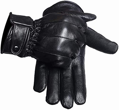 Gants cuir homme noir bouton pression avec rembourage polaire (S / 7)