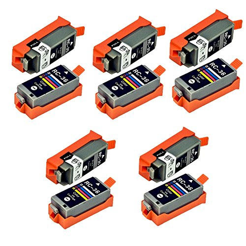 Karl Aiken 10x (5noir, 5tricolore) PGI-35CLI-36Compatible para Canon PGI-35CLI-36Cartuchos de Tinta Compatible con Canon Pixma iP100IP110Mini 260320