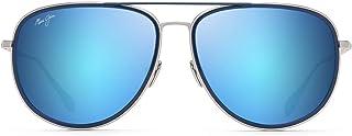 Maui Jim Fair Winds Aviator Sungl, Silver Matte W/Dark Navy Rim/Blue Hawaii Polarized, Medium