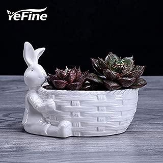 Best Quality - Flower Pots & Planters - Blanc DE Chine White Ceramic DIY Flower Pots Decoration Rabbit Flower Pot for Green Plant Garden Planter Pots Porcelain - by VietFA - 1 PCs