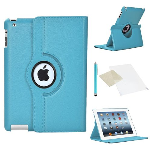 Cover per Apple iPad 2/3/4 - Blu Cover in Ecopelle con Meccanismo di Rotazione di 360° per Posizionamento Verticale ed Orizzontale del Tablet. Pellicola di Protezione per Schermo e Pennina per Touch Screen Incluse Gratuitamente da Stuff4