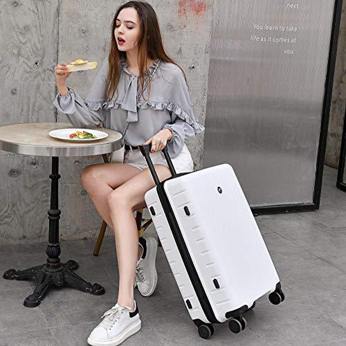 Huiran Valigia in polipropilene, valigetta trolley ruote universali per studenti valigia password 20-white_26 pollici