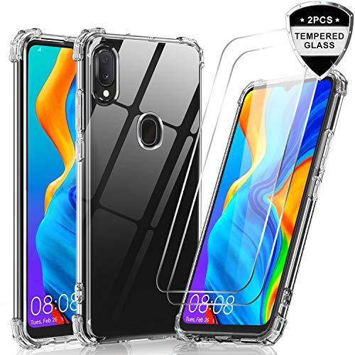 LeYi Funda Samsung Galaxy A70 // A70s con ,Transparente Shockproof Carcasa Ultra Silicona PC y TPU Slim Gel Bumper Antigolpes Cover Case para Movil A70 2-Unidades Cristal Vidrio Templado Clear Negro
