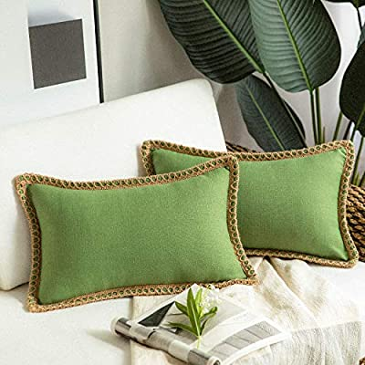 Phantoscope Pack of 2 Farmhouse Decorative Throw Pillow Covers Burlap Linen Trimmed Tailored Edges