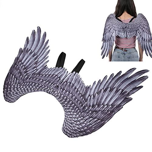 WEILafudong Disfraz de Halloween Alas de ángel 3D, Suministros de alas de ángel de Plumas, Accesorios para Disfraces de Cosplay Accesorios Decoración de Halloween para Fiesta de Halloween(Negro)